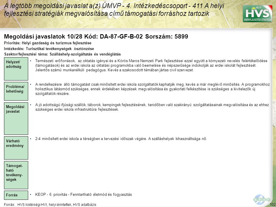 Megoldási javaslatok 10/28 Kód: DA-87-GF-B-02 Sorszám: 5899
