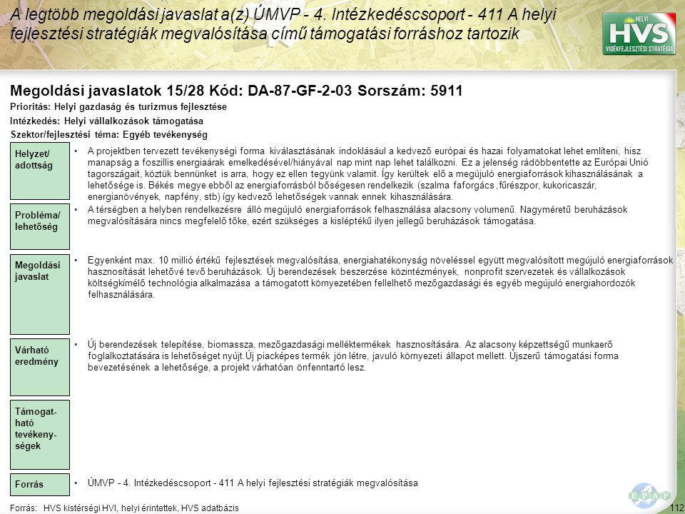 Megoldási javaslatok 15/28 Kód: DA-87-GF-2-03 Sorszám: 5911