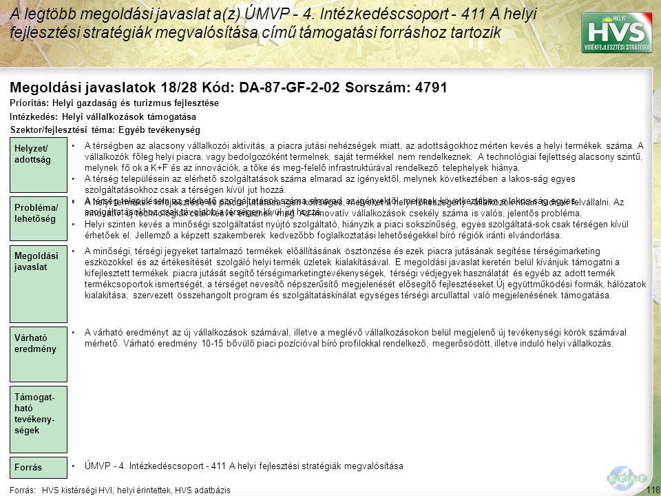 Megoldási javaslatok 18/28 Kód: DA-87-GF-2-02 Sorszám: 4791