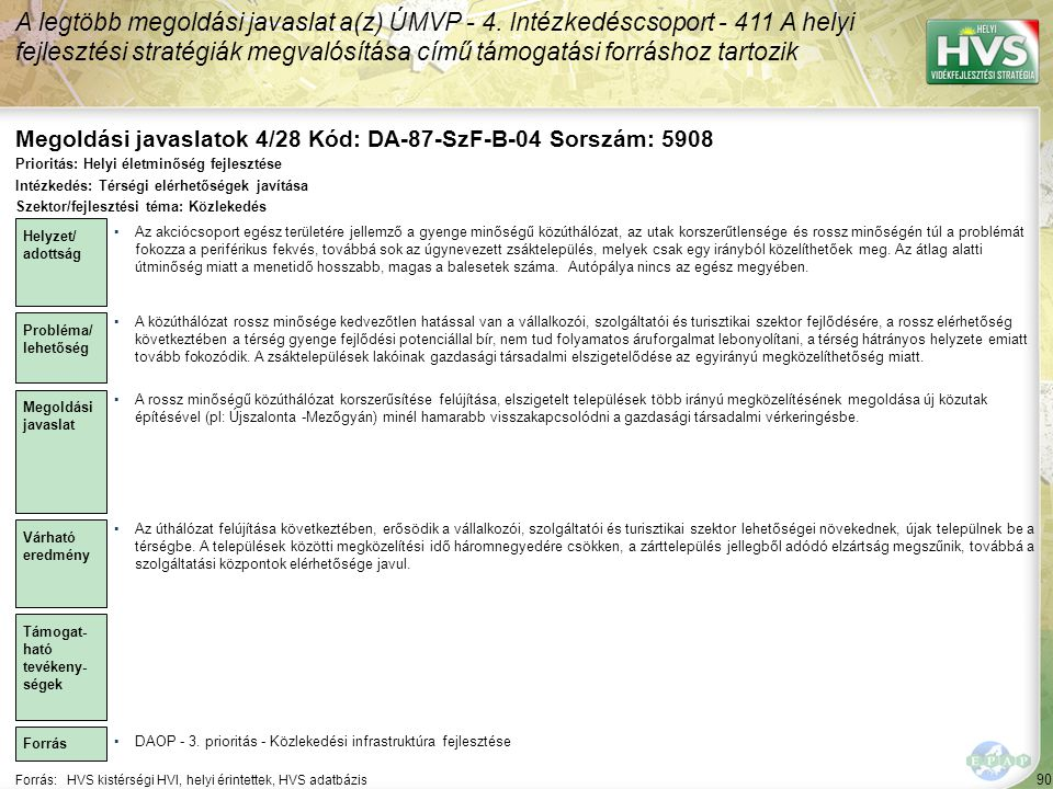 Megoldási javaslatok 4/28 Kód: DA-87-SzF-B-04 Sorszám: 5908