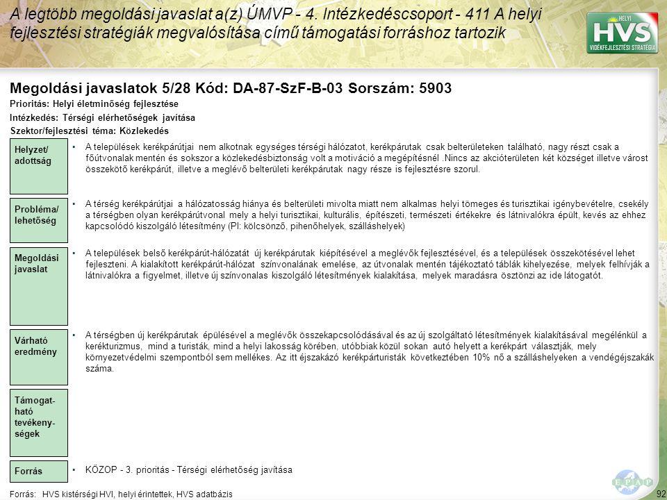 Megoldási javaslatok 5/28 Kód: DA-87-SzF-B-03 Sorszám: 5903