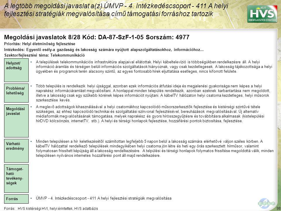Megoldási javaslatok 8/28 Kód: DA-87-SzF-1-05 Sorszám: 4977