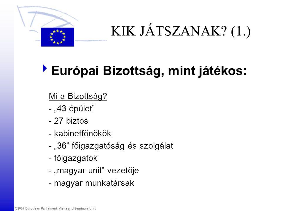 KIK JÁTSZANAK (1.) Európai Bizottság, mint játékos: Mi a Bizottság