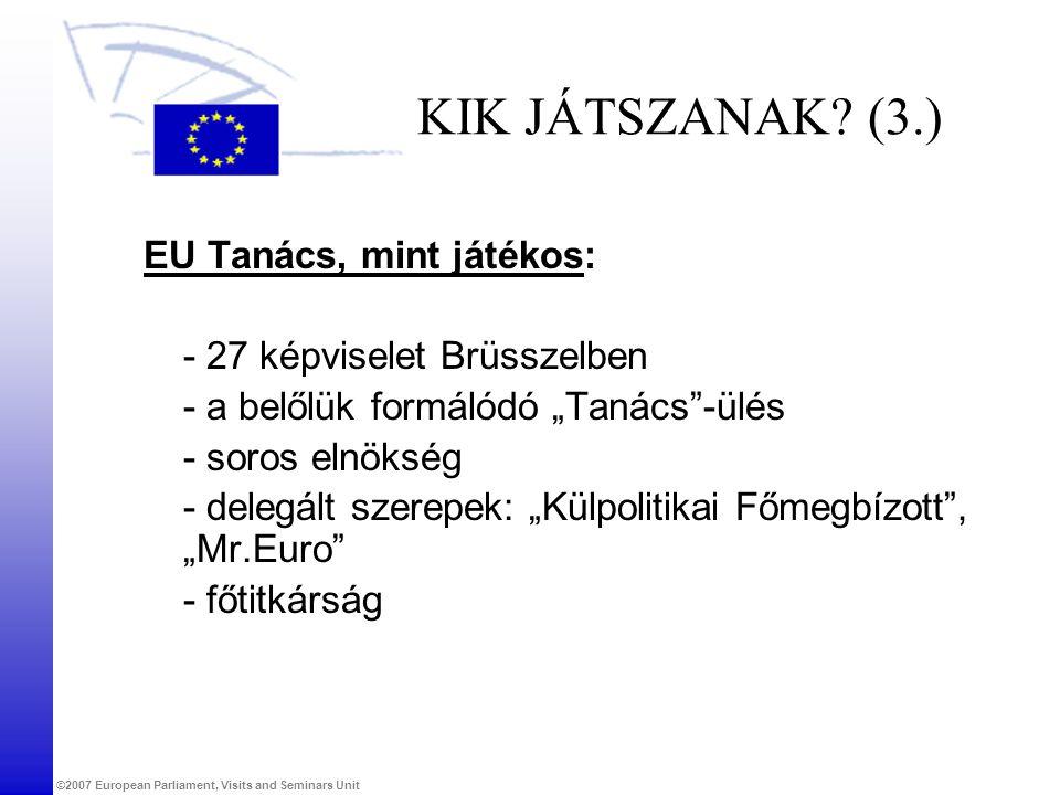 KIK JÁTSZANAK (3.) EU Tanács, mint játékos: