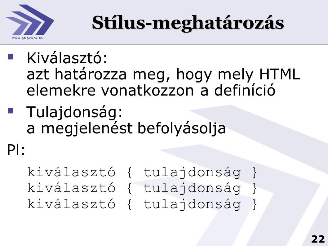Stílus-meghatározás Kiválasztó: azt határozza meg, hogy mely HTML elemekre vonatkozzon a definíció.