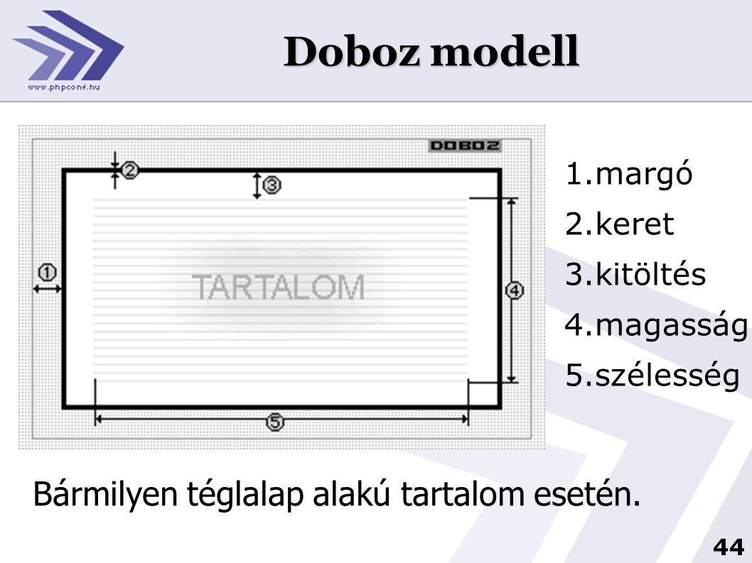 Doboz modell Bármilyen téglalap alakú tartalom esetén. margó keret