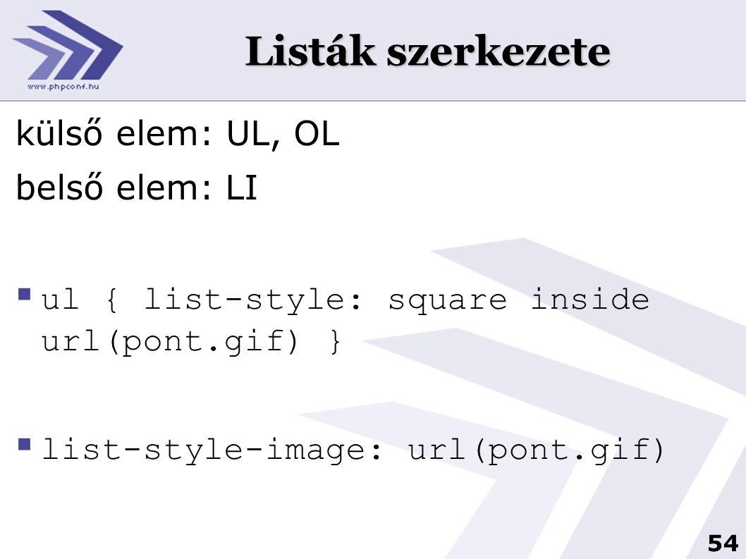 Listák szerkezete külső elem: UL, OL belső elem: LI