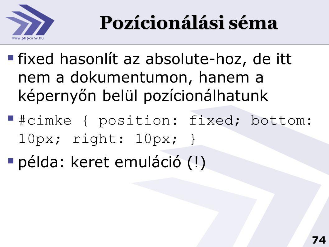 Pozícionálási séma fixed hasonlít az absolute-hoz, de itt nem a dokumentumon, hanem a képernyőn belül pozícionálhatunk.