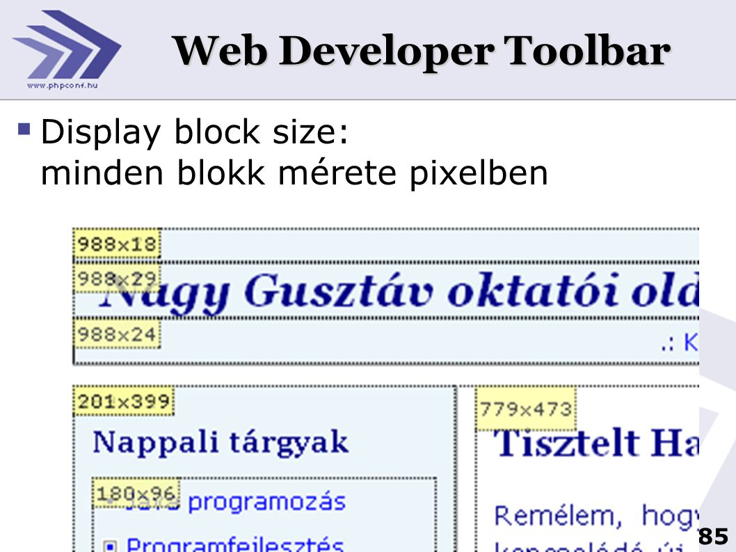 Web Developer Toolbar Display block size: minden blokk mérete pixelben