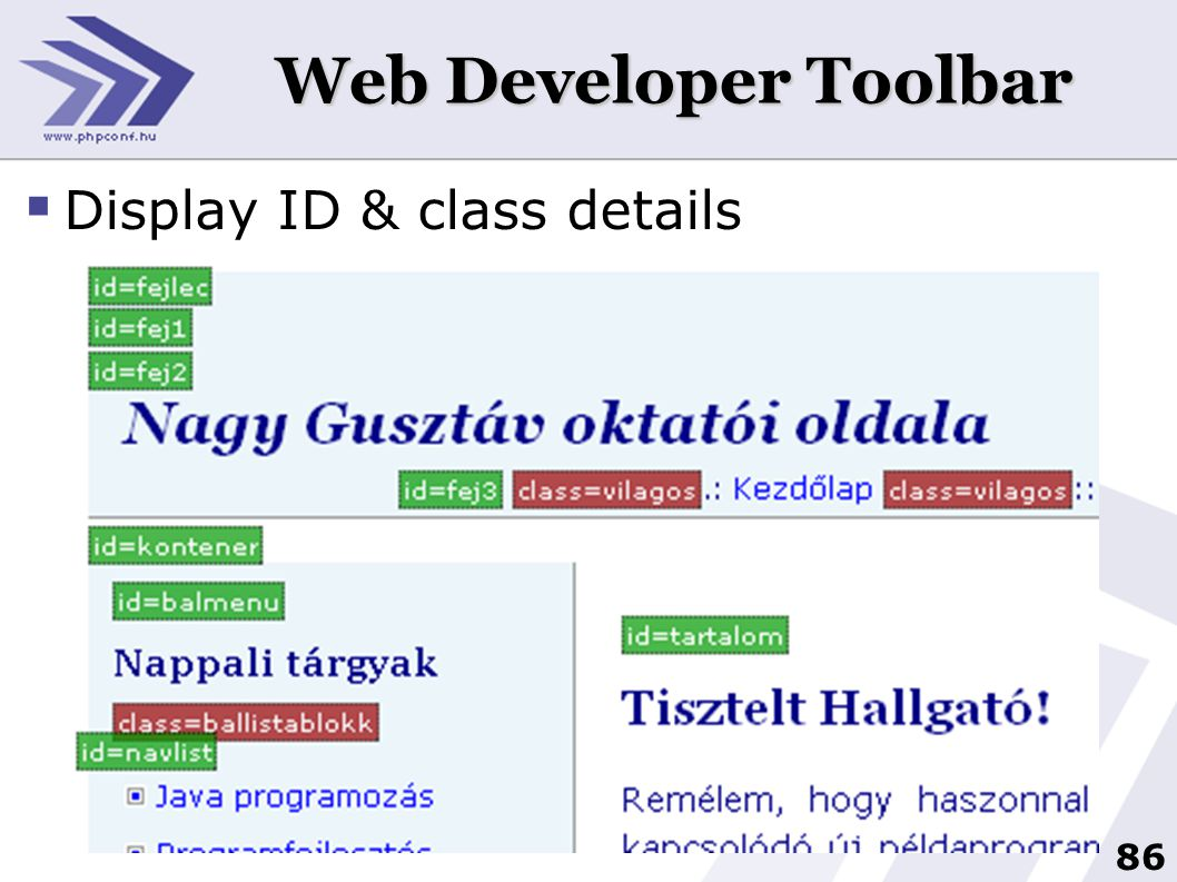 Web Developer Toolbar Display ID & class details