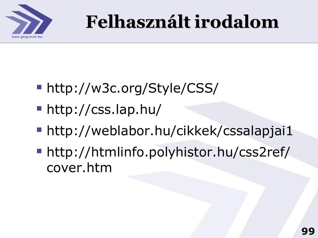 Felhasznált irodalom http://w3c.org/Style/CSS/ http://css.lap.hu/