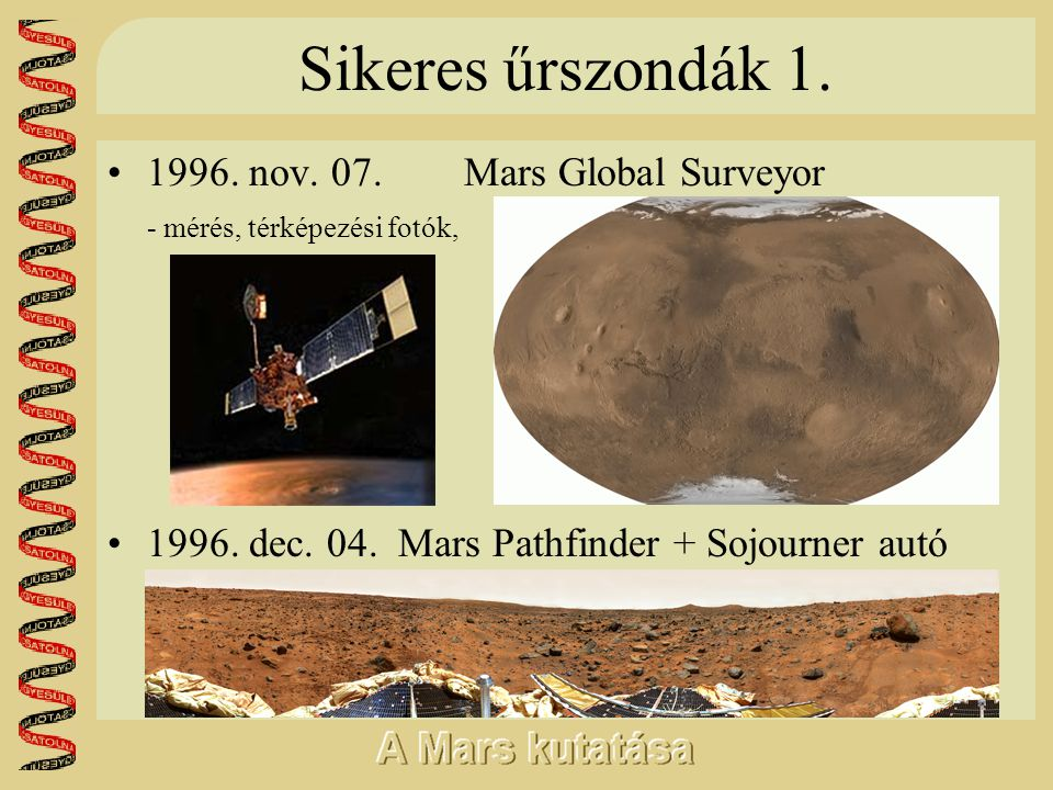 Sikeres űrszondák 1. 1996. nov. 07. Mars Global Surveyor