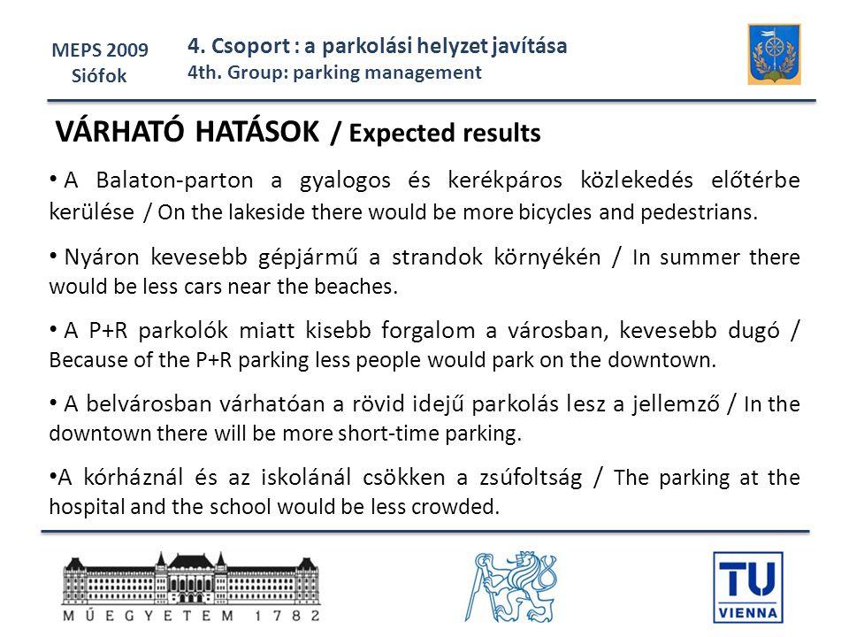 VÁRHATÓ HATÁSOK / Expected results