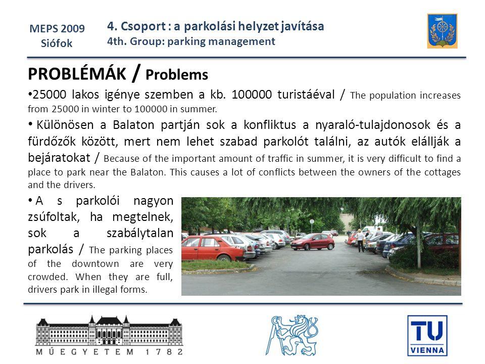 MEPS 2009 Siófok. 4. Csoport : a parkolási helyzet javítása. 4th. Group: parking management. PROBLÉMÁK / Problems.