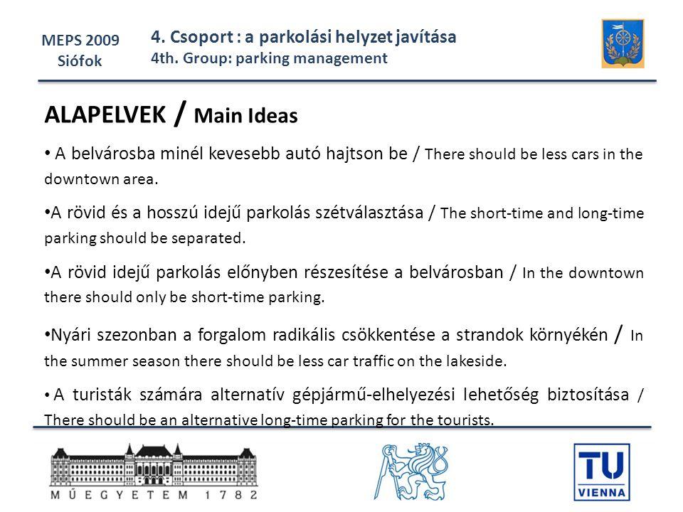 ALAPELVEK / Main Ideas 4. Csoport : a parkolási helyzet javítása