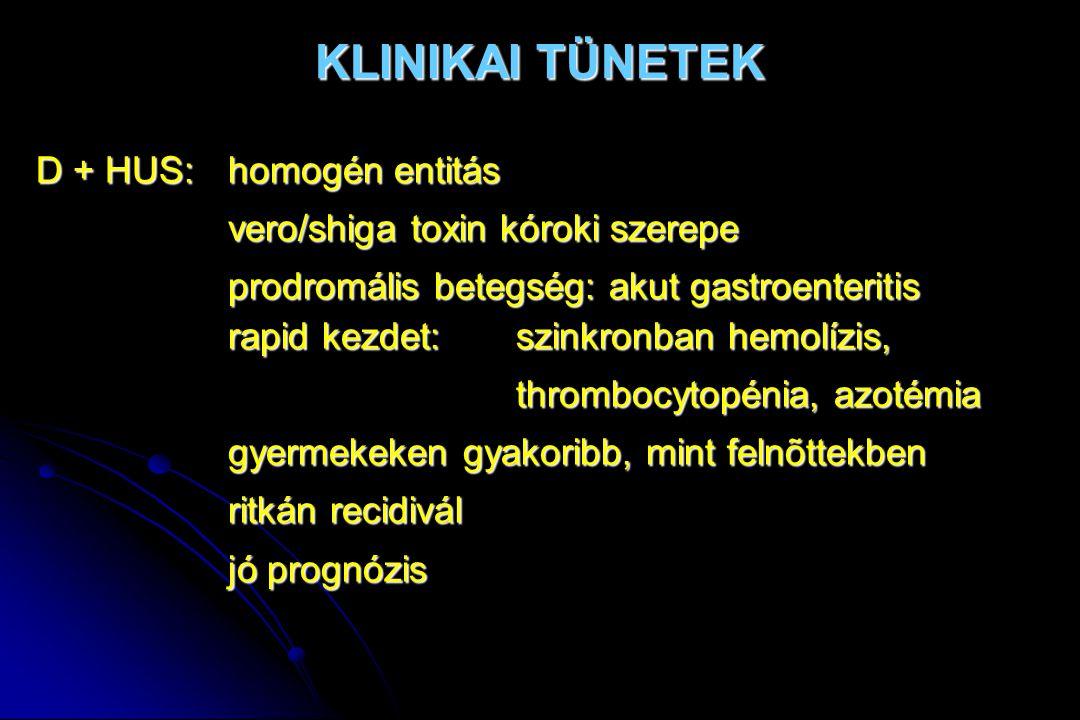 KLINIKAI TÜNETEK D + HUS: homogén entitás