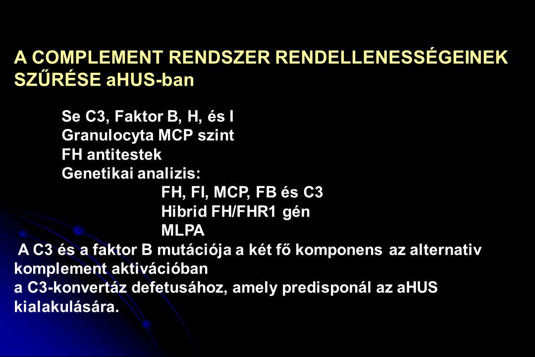 A COMPLEMENT RENDSZER RENDELLENESSÉGEINEK SZŰRÉSE aHUS-ban