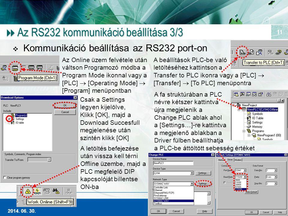 Az RS232 kommunikáció beállítása 3/3