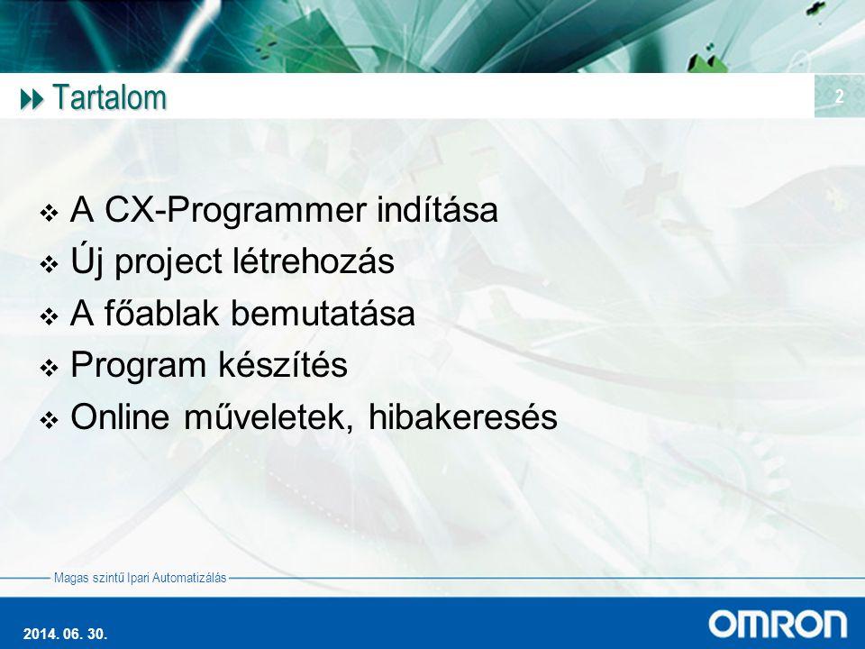 A CX-Programmer indítása Új project létrehozás A főablak bemutatása