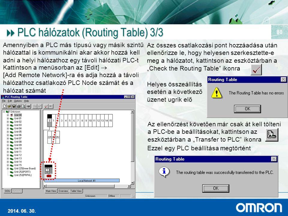 PLC hálózatok (Routing Table) 3/3