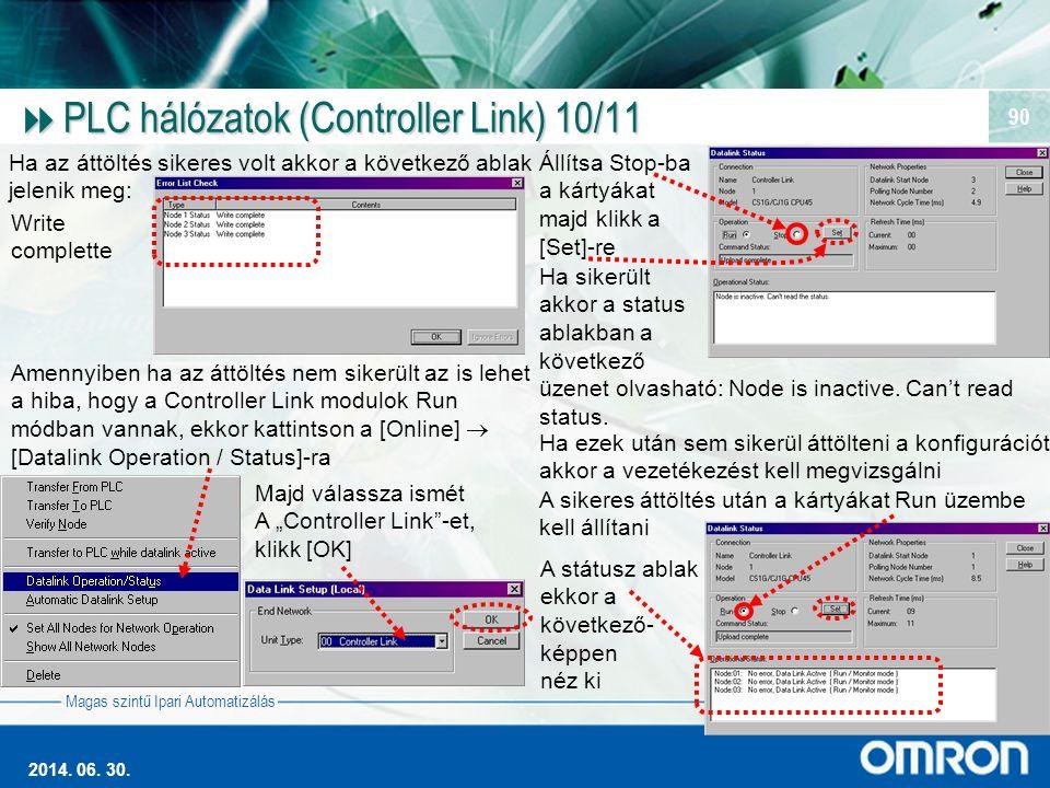 PLC hálózatok (Controller Link) 10/11
