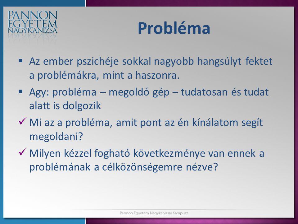 Probléma Az ember pszichéje sokkal nagyobb hangsúlyt fektet a problémákra, mint a haszonra.