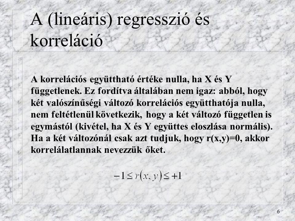 A (lineáris) regresszió és korreláció