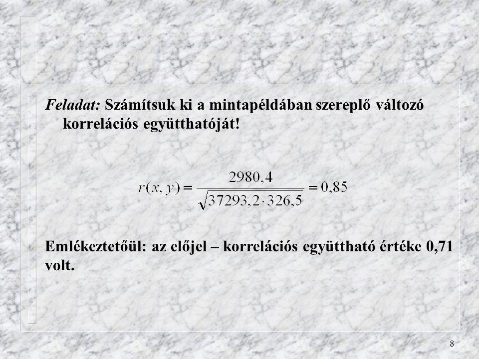 Feladat: Számítsuk ki a mintapéldában szereplő változó korrelációs együtthatóját!