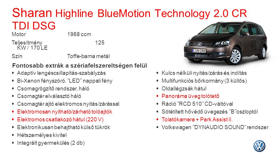 Sharan Highline BlueMotion Technology 2.0 CR TDI DSG