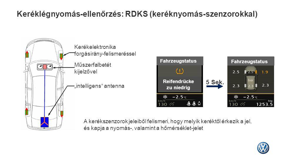 Keréklégnyomás-ellenőrzés: RDKS (keréknyomás-szenzorokkal)