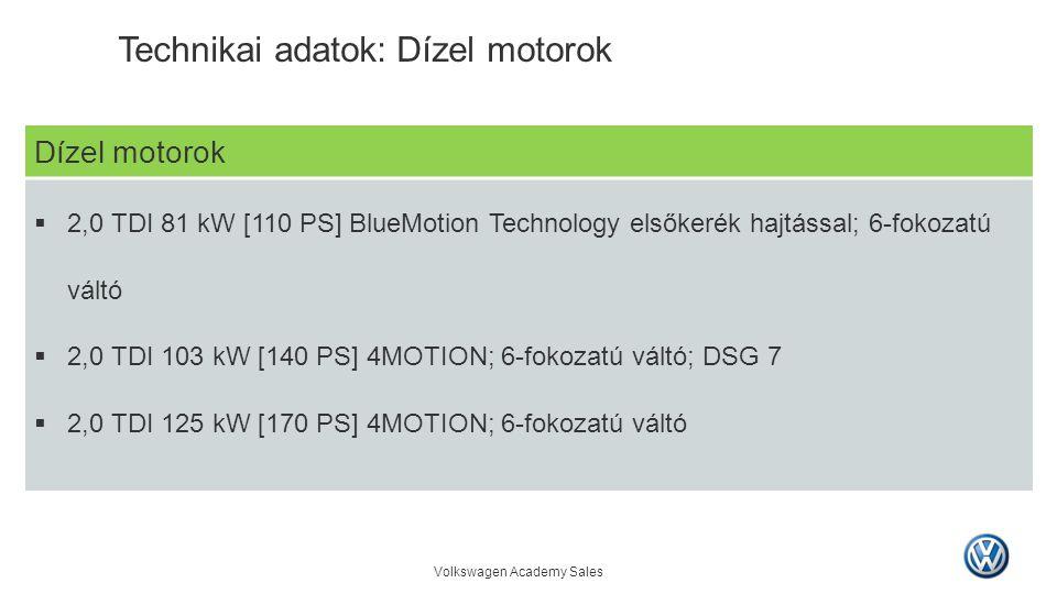 Technikai adatok: Dízel motorok