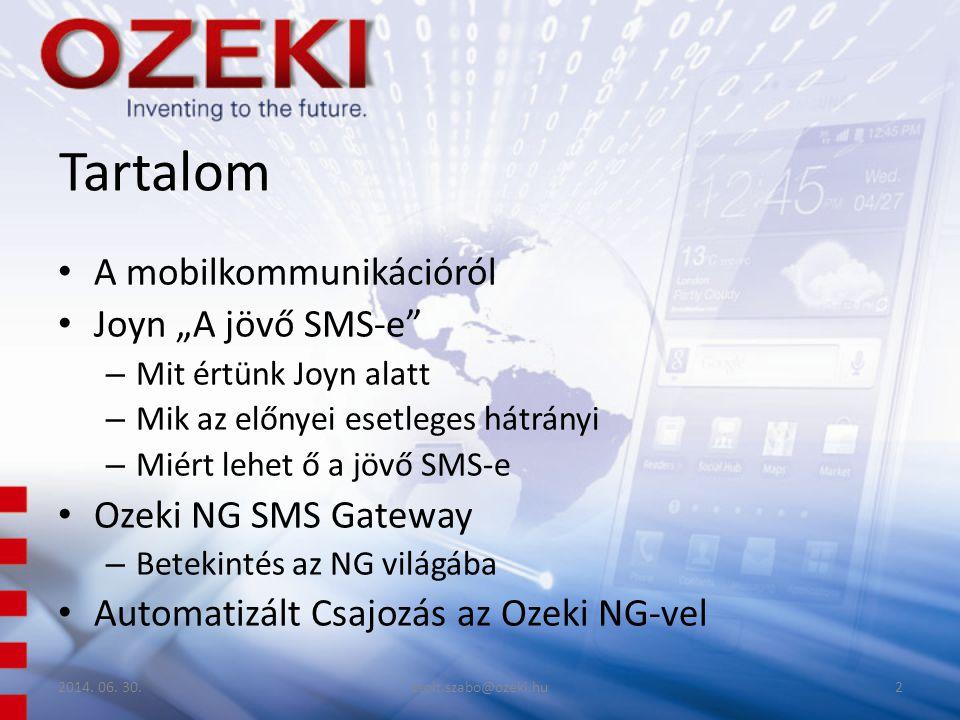 "Tartalom A mobilkommunikációról Joyn ""A jövő SMS-e"