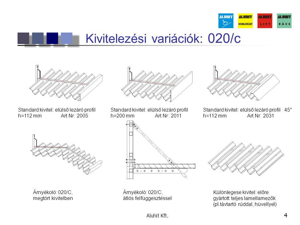 Kivitelezési variációk: 020/c