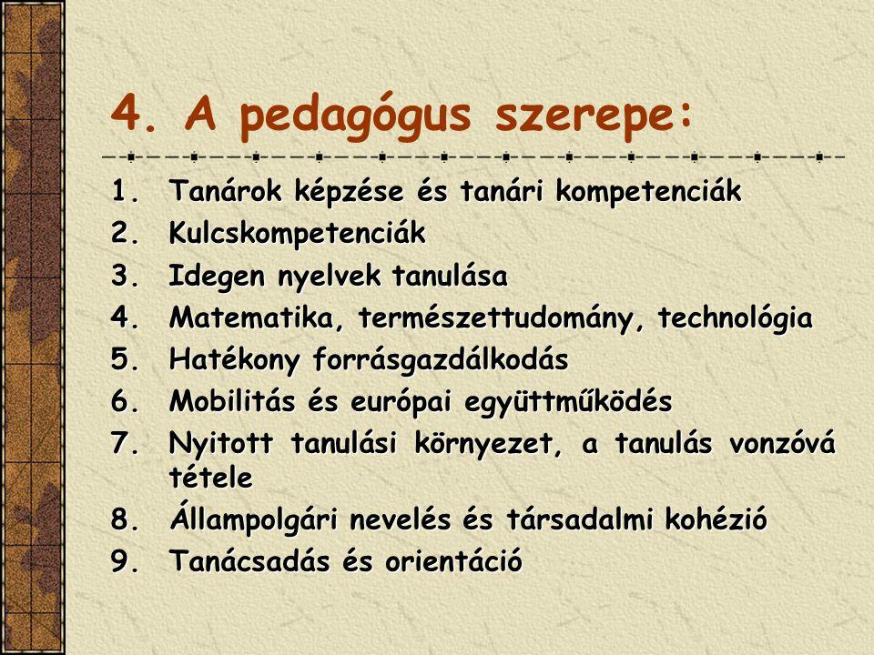 4. A pedagógus szerepe: Tanárok képzése és tanári kompetenciák