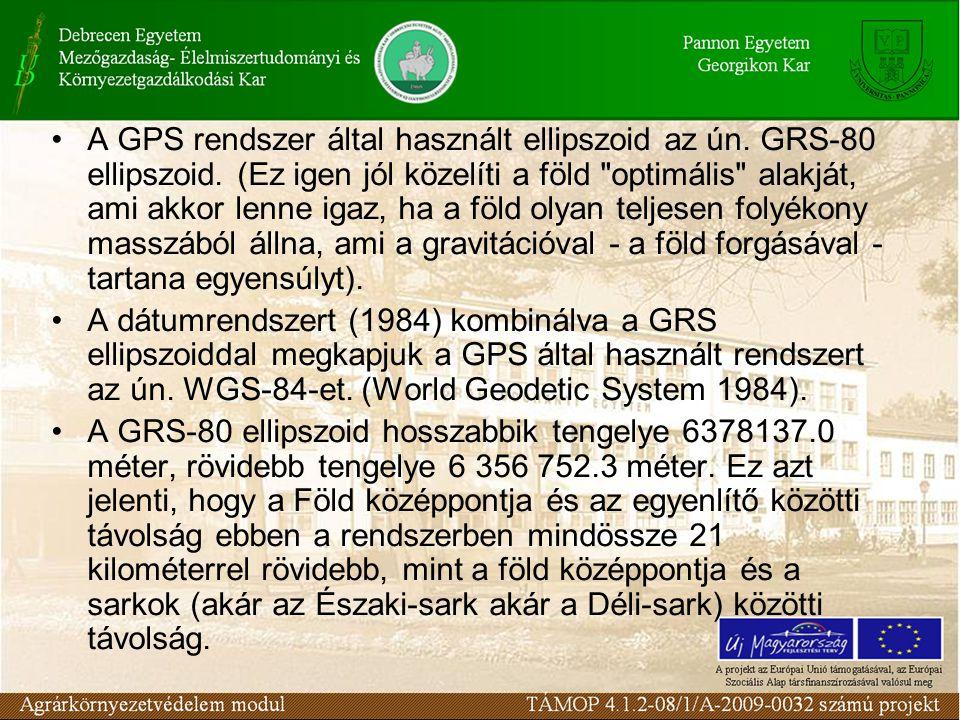 A GPS rendszer által használt ellipszoid az ún. GRS-80 ellipszoid