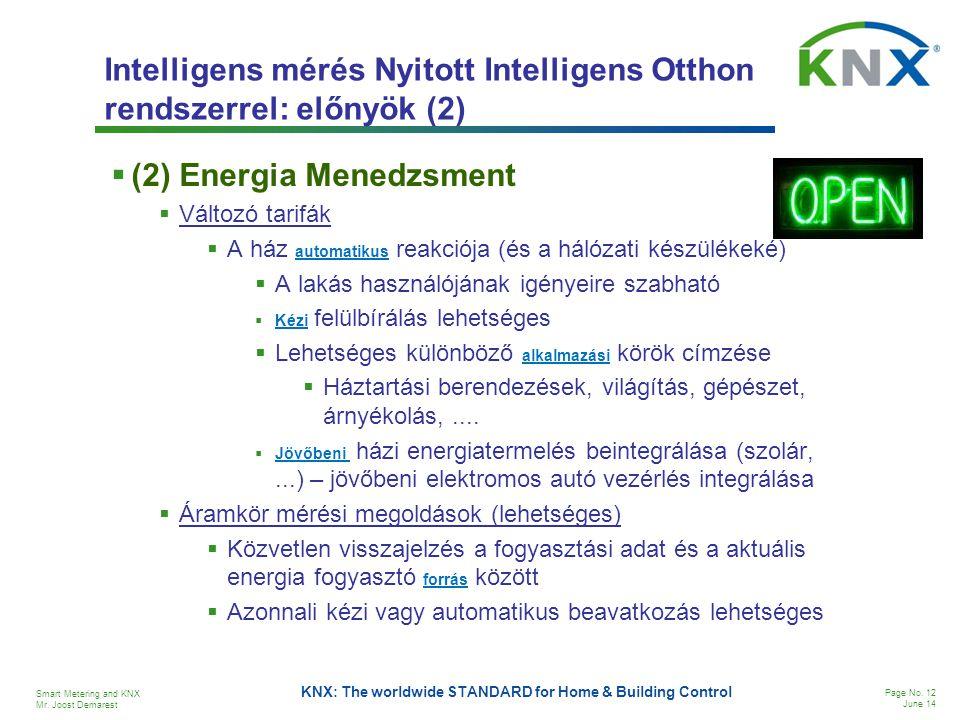 Intelligens mérés Nyitott Intelligens Otthon rendszerrel: előnyök (2)