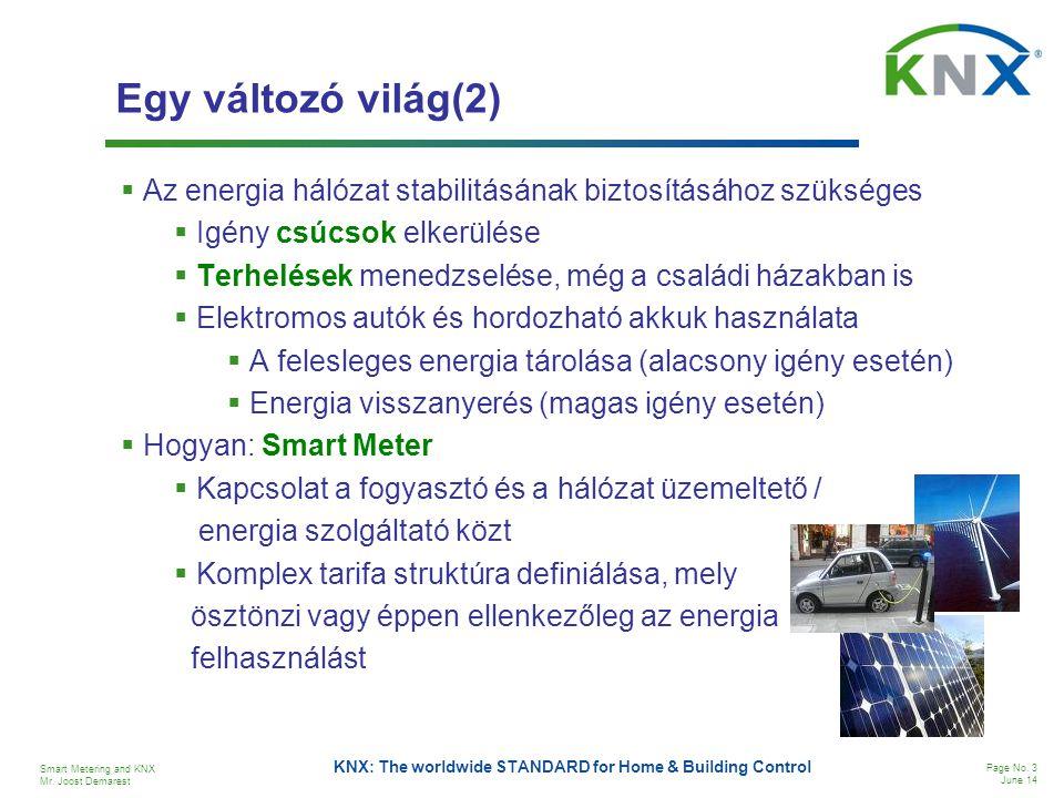 Egy változó világ(2) Az energia hálózat stabilitásának biztosításához szükséges. Igény csúcsok elkerülése.
