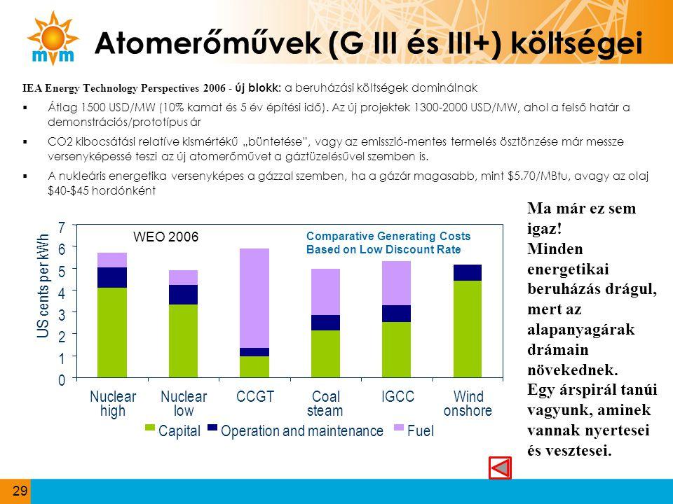Atomerőművek (G III és III+) költségei