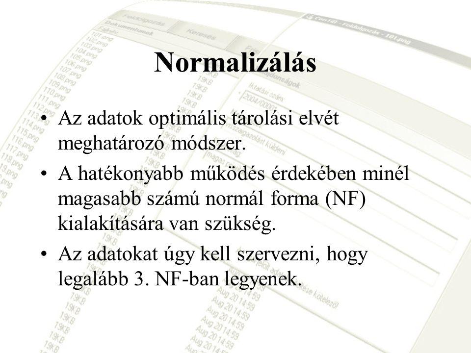 Normalizálás Az adatok optimális tárolási elvét meghatározó módszer.