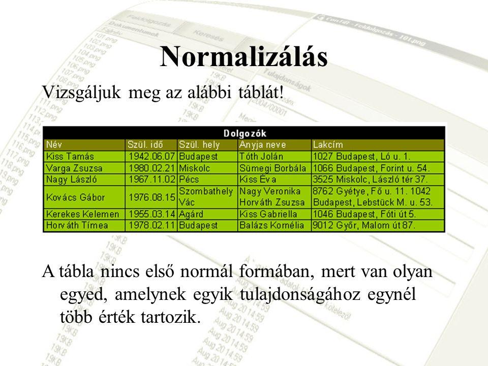 Normalizálás Vizsgáljuk meg az alábbi táblát!