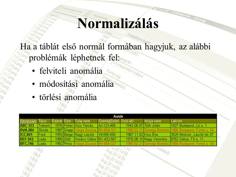 Normalizálás Ha a táblát első normál formában hagyjuk, az alábbi problémák léphetnek fel: felviteli anomália.