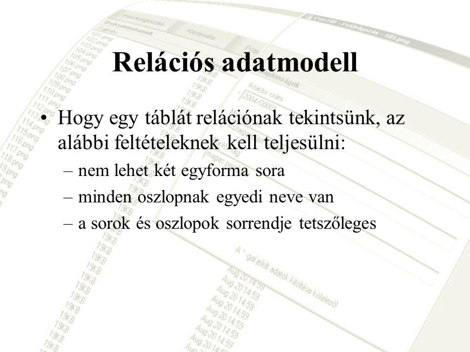 Relációs adatmodell Hogy egy táblát relációnak tekintsünk, az alábbi feltételeknek kell teljesülni:
