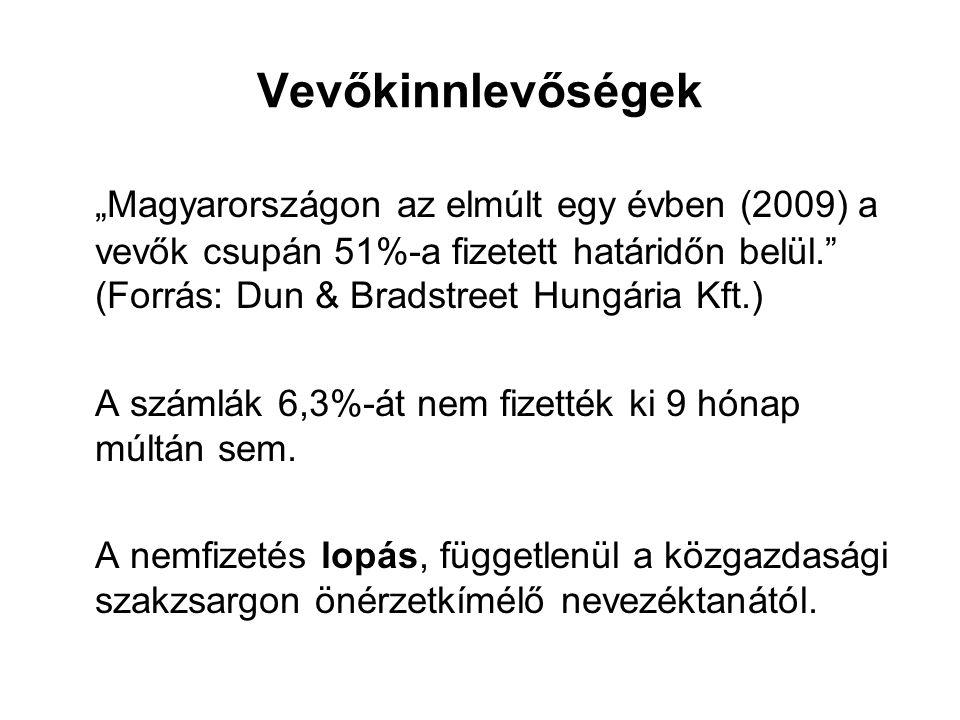 """Vevőkinnlevőségek """"Magyarországon az elmúlt egy évben (2009) a vevők csupán 51%-a fizetett határidőn belül. (Forrás: Dun & Bradstreet Hungária Kft.)"""