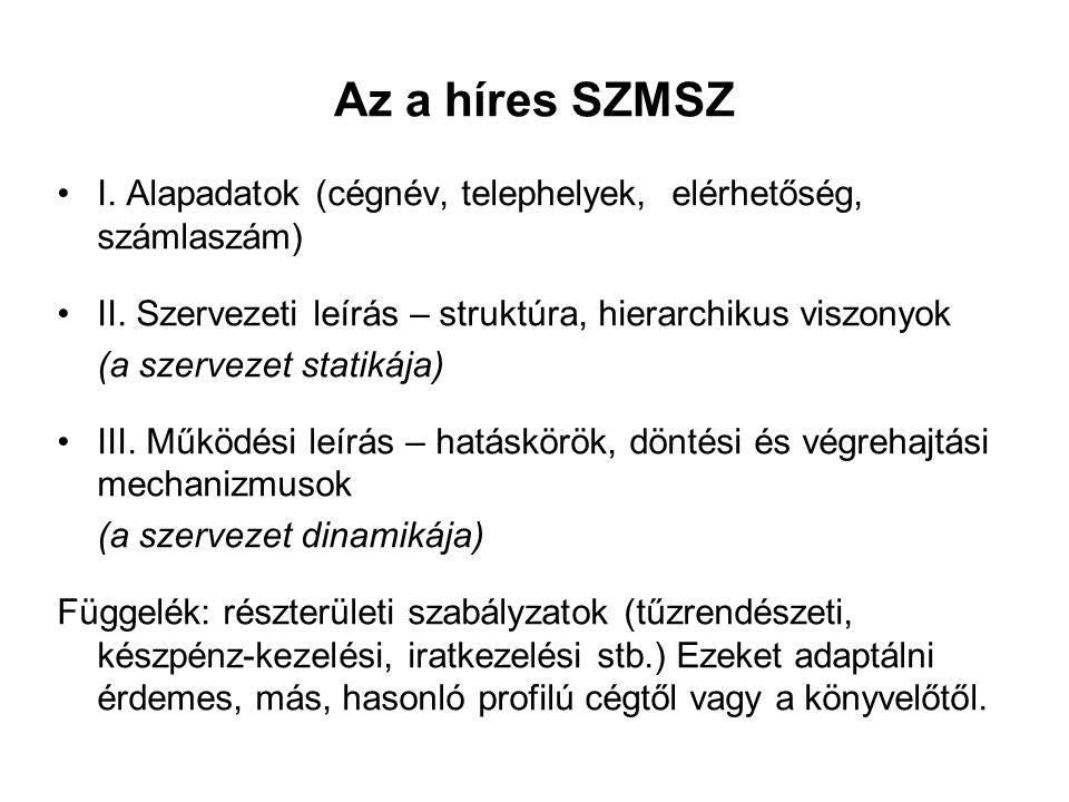 Az a híres SZMSZ I. Alapadatok (cégnév, telephelyek, elérhetőség, számlaszám) II. Szervezeti leírás – struktúra, hierarchikus viszonyok.