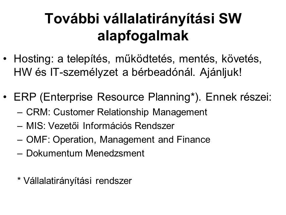 További vállalatirányítási SW alapfogalmak