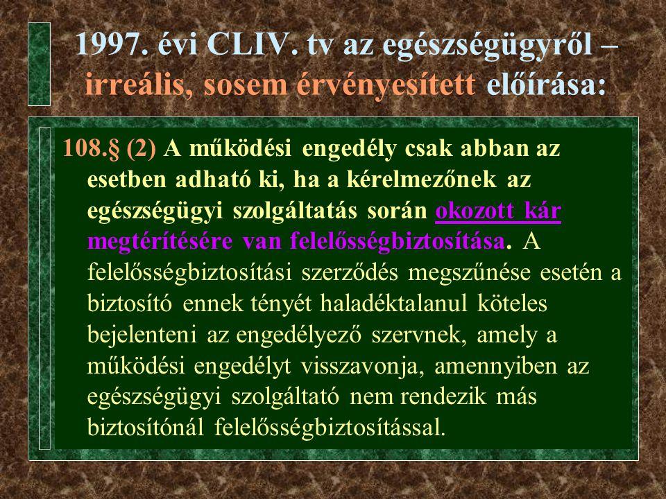 1997. évi CLIV. tv az egészségügyről – irreális, sosem érvényesített előírása: