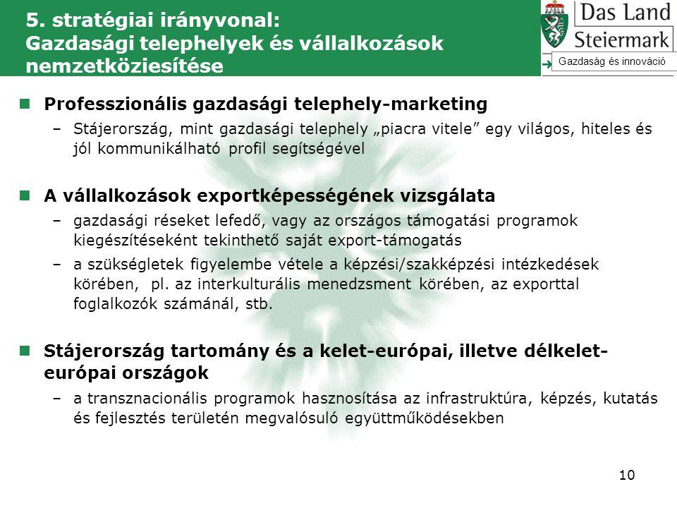 5. stratégiai irányvonal: Gazdasági telephelyek és vállalkozások nemzetköziesítése