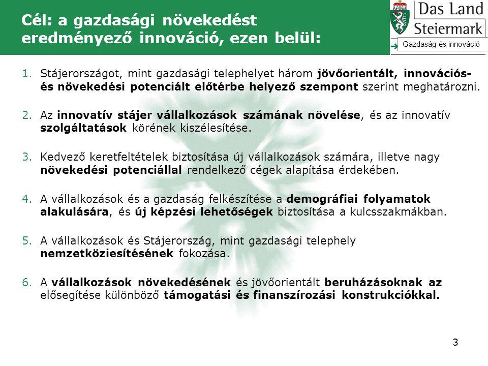 Cél: a gazdasági növekedést eredményező innováció, ezen belül: