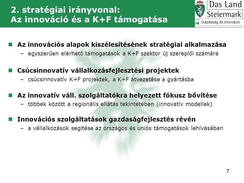 2. stratégiai irányvonal: Az innováció és a K+F támogatása