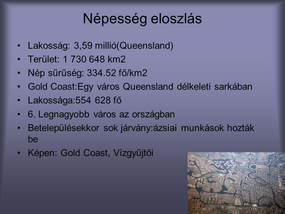 Népesség eloszlás Lakosság: 3,59 millió(Queensland)